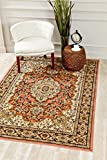 3787 Rose Oriental 5 x 7 Carved Chenille Area Rug Carpet Large New