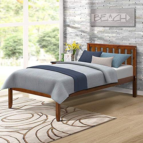 Amazon Com Deluxe Platform Bed With Headboard Wood Slat