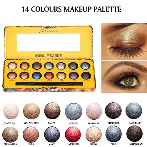 Shimmer Eyeshadow Palette Metallic Eye Shadow, 14 Colors Matte Pearl Light Eye Shadow Powder Palette,Natural Pigmented Nude Naked Smokey Professional Cosmetic with Brush (Multicolor) for $<!--$5.50-->