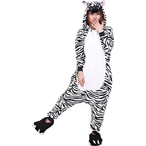 ABING Halloween Pajamas Homewear OnePiece Onesie Cosplay Costumes Kigurumi Animal Outfit Loungewear,Zebra Adult M -for Height (Zebra Costumes For Adults)