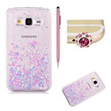 SKYXD Galaxy Grand Prime Liquid Case,Luxury Floating Flowing 3D Novelty Design Bling Shiny Sparkle Pink and Blue Heart Glitter Plastic Pattern Hard Back Cover Protective Skin Cell Phone Cases For Samsung Galaxy Grand Prime G530 + 1 x Touch Screen Stylus + 1 x Dust Plug