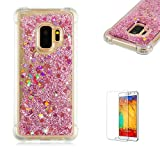 Funyye Liquid Quicksand Case for Samsung Galaxy S9,Sparkly Flowing Glitter Diamond Rose Gold Love Hearts TPU Case for Samsung Galaxy S9,Slim Soft Rubber Flexible Clear Protective Silicone Case