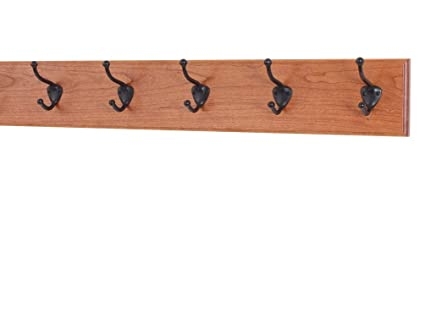 Solid Cherry Wall Mounted Coat Rack With Oil Rubbed Bronze Hooks 4 5