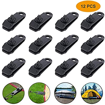 12pcs Tarp Canvas Clips Heavy Duty Lock Grip Clamps Thumb Screw Tent Clip Awning Clamp Set Jaw Tent Snaps Tarps Canopies and Covers Locking Clamp Design for Outdoors Camping Farming Garden Tarps: Sports & Outdoors