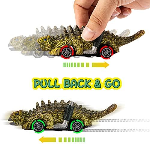 UTTORA Auto Dinosaurier Spielzeug, Dinosaurier Ziehen Auto Zurück Spielzeugset,Dinosaurier Spielzeug ab 3 Jahre, Geschenk für Jungen Mädchen (6Pack)