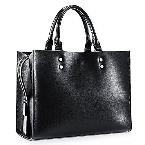 Kattee Women's Genuine Leather Tote Bag Briefcase Handbag With Colorful Braided Shoulder (Braided Shoulder Strap)