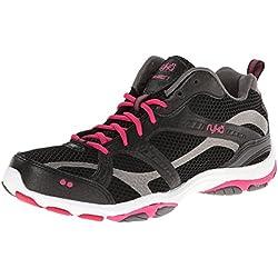 RYKA Women's Enhance 2 Cross-Training Shoe, Black/Zumba Pink/Metallic Steel Grey, 8 M US