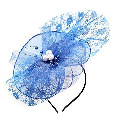 Women Removable Fascinator Hair Clip Headband Lace Flower Pearl Wedding Headwear Bridal 1920s Headpiece (Royal Blue)