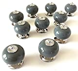 #6: Grey Ceramic Cabinet Knobs – Set of 10 Round Matching Drawer Pulls with Modern Chrome Hardware for Dressers Kitchen Cupboards Home Furniture and Doors by Teacake