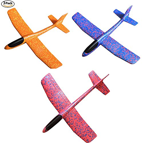 Glider Flights - W-ShiG Throwing Foam Airplane 2 Flight Mode Hand Launch Glider Plane Inertia Aircraft Outdoor Sports Flying Toy for Kids Gift(3 Pack)