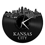 Kansas Vinyl Wall Clock Cityscape Travel Souvenir