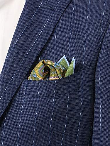 (ザ・スーツカンパニー) MADE IN ENGLAND/シルクポケットチーフ グリーン×ブルー×パープル