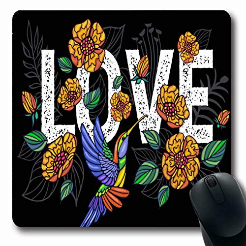 Ahawoso Mousepads Palm Applique Hummingbird Love Tree Leaves Tropical Aloha Beach Birds Drawing Exotic Floral Oblong Shape 7.9 x 9.5 Inches Non-Slip Gaming Mouse Pad Rubber Oblong Mat