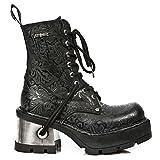 New Rock Women's Metallic Black Leather Boots M.8355-S2 (39 EU, BLACK)