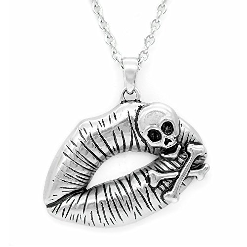 Controse Womens Silver-Toned Stainless Steel Poisonous Kiss Necklace 28
