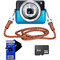 Canon PowerShot N 12.1 MP CMOS Digital Camera with 8x Optical Zoom and 28mm Wide-Angle Lens (Black) + 8GB MicroSDHC Memory Card + Powershot N Blue Jacket + Braided Leather Neck Strap PSN-200 + HeroFiber® Ultra Gentle Cleaning Cloth Key Pieces Review Image