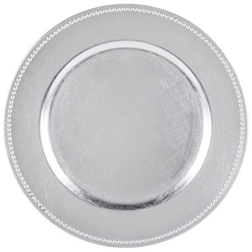 Beaded Edge Dinner Plate - Round Charger Beaded Dinner Plates, Silver 13 inch, Set of 1,2,4,6, or 12 (12)
