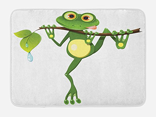 Ambesonne Animal Bath Mat, Little Frog on Branch of The Tree in Rainforest Nature Jungle Life Art Earth, Plush Bathroom Decor Mat with Non Slip Backing, 29.5