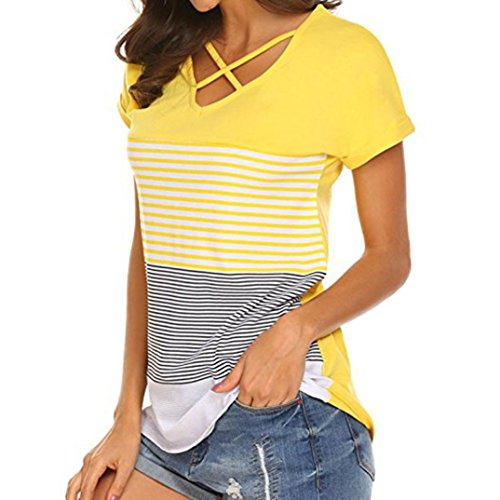 Mitsutomi Women Blouse,Summer Women Casual Short Sleeve Striped Patchwork Solid Top T-Shirt (Yellow, M)