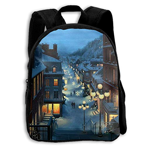 DKFDS Backpacks School Season Kids Backpack Bookbag,Child Christmas Snowflakes Evening Lights Shoulder Bag ()
