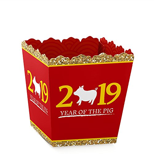 Chinese New Year - Party Mini Favor Boxes - 2019 Year of The Pig Treat Candy Boxes - Set of 12