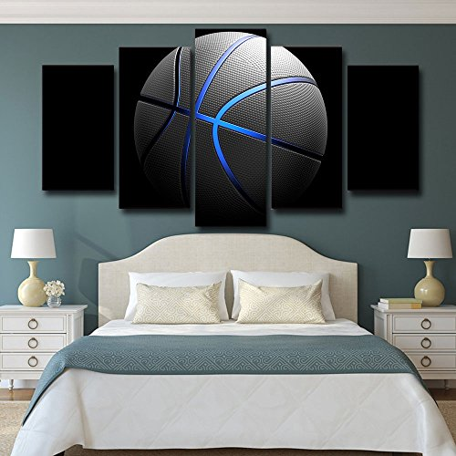 - Sports Basketball Canvas Art Painting Blue light Wall Pictures Gym Poster Modular Painting Supplies Large Size 5 Pieces/set for Boys With Stretched Framed