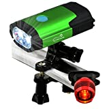 Lumintrail USB Rechargeable 800 Lumen LED Bike Light with Tail Light and Secure Tool Free Mount (Green) Review