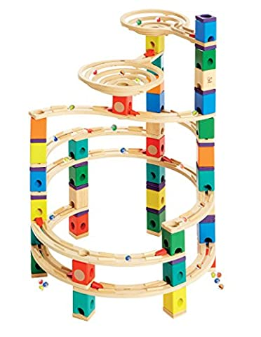 Hape Quadrilla Wooden Marble Run Construction - Cyclone - Quality Time Playing Together Wooden Safe Play - Smart Play for Smart - Playing Marbles