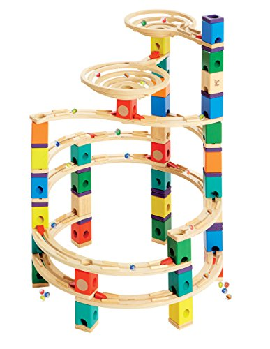 Hape Quadrilla Wooden Marble Run Construction - Cyclone - Quality Time Playing Together Wooden Safe Play - Smart Play for Smart Families (Quadrilla Twist Marble)