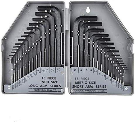 30 ピースユニバーサル六角レンチセットメトリック/帝国六角レンチ L 型バイクトルクレンチセット鋼スパナセット-灰色