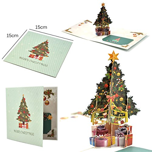 eZAKKA 3D Christmas Cards Pop Up Holiday Greeting Gifts Cards with Envelopes for Xmas Merry Christmas New Year, 5-Pack Photo #4