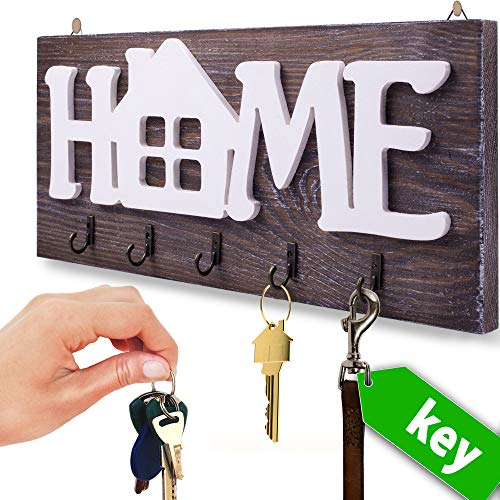 I.S.Company- Key Holder for Wall Home Natural Wood | Decorative Key Hooks Ring Holder w/ 5 Hooks, Rustic House Holder for Living Area, Kitchen | Wall-Mounted Keyring Rack Home Holder(Special Brown)