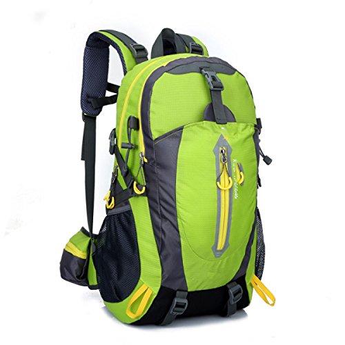 LQABW Los Hombres De Hombro Montañismo Montar Viaje Y Mujeres Caminando Tela Impermeable Oxford Camping 40L Mochila De Senderismo,Black Green