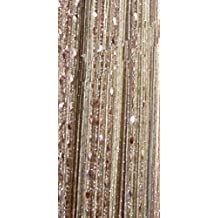 Yiyida 1 Piece 3m x3m Beauty Decorative String Beaded Curtain for Door Window Tassel Panel Room Divider ,Champagne