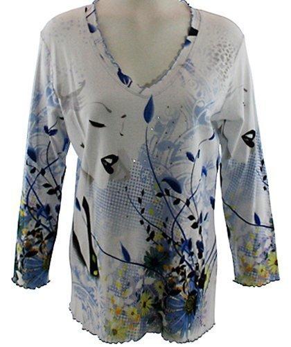 Impulse California - Norma Jeans, Scoop Neck, White & Blu...
