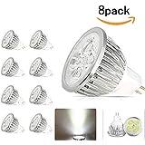 JKLcom MR16 LED Light Bulbs 8 Pack,12V 4W LED Spotlight MR16 Socket Base Bulbs ,50 Watt Equivalent