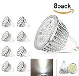JKLcom MR16 LED Bulbs MR16 GU5.3 Base 12V 4W LED Spotlight Bulb for Landscape lighting,Equivalent to 50 Watt Halogen,Cool White,Pack of 8