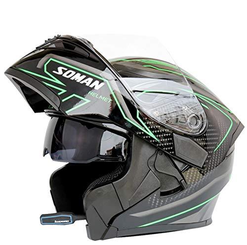 LYJNBB Motorcycle Bluetooth Full Face Helmets, Modular Flip up Dual Visor Anti-Fog Adult Helmet Motocross,Built-in Integrated Intercom Communication System,XXL (Integrated Intercom)