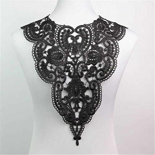 Collar Sequin Beaded Applique (1 Pc Classic Flower Neckline Lace Collar Charming Sewing Wedding Applique Black)
