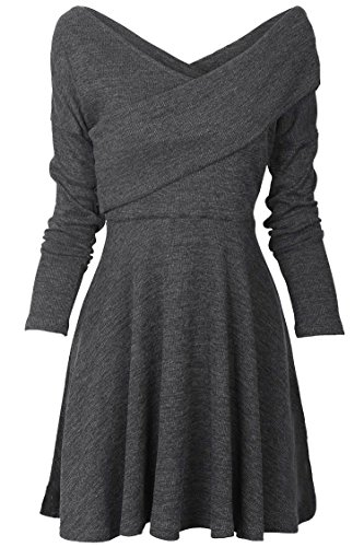 Tempt me Womens Long Sleeve Knitted Sweater Pullover Swing Solid Slim Fit Wrap Midi Dress Grey Large