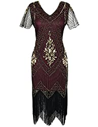 Gold Burgundy 1920s Sequin Art Dress with Sleeve