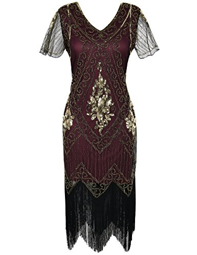 PrettyGuide Women's 1920s Flapper Dress Fringed Great Gatsby Dress M Gold Burgundy -