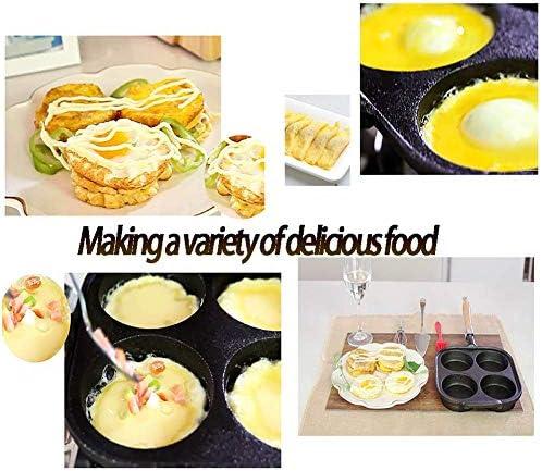 Yxxc Poêle à Oeufs en Fonte 4 grilles Cuiseur à Oeufs Frits, Poêle à Omelette à Crêpes Induction, Sauver l'huile Alimentaire, Manche en Bois, Noir 20cm