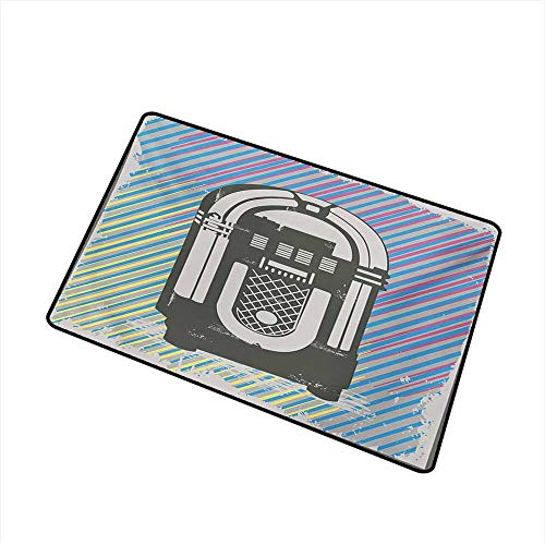 Oriental Music Box Garden - duommhome Outdoor Door mat Jukebox Radio Party Dark Grey Vintage Music Box with Abstract Grunge Colorful Stripes Image W31 xL47 Mildew Proof