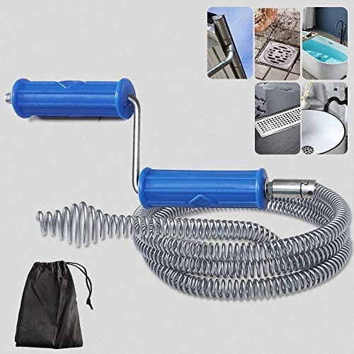 """5 Ft Plumbing Snake Drain Auger, Quickly Unclogging Drain Clog Remover with Heavy Duty Cable [ No Kinks ] & Metal Rod Handle, Easy Operate Pipe Snake Use Manually or Powered for Sink (3/5"""" dia)"""