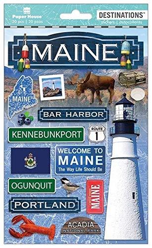 Sticker Scrapbooking Crafts 2D Maine Light House Lobster Moose Kennebunkport R1