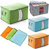 Yosoo 3 Pcs Bamboo Charcoal Large Durable Foldable Clothes Quilt Pillow Blanket Storage Zipper Bag Case Container Organizers Container Box (Blue+Green+Gray)
