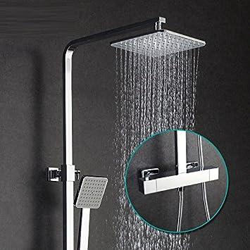 SADASD Moderno baño Cobre termostato mástil Liftable Gran Ducha Grifo Chrome-Plated Home Ducha Grifo Mezclador Ducha Caliente y fría Toca