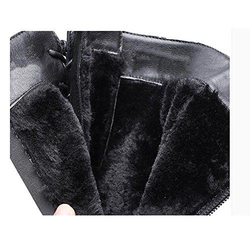 de 43 Botas 43 plano casual cálido En black mujer cilindro el redondo escarchas Invierno y awwBqf