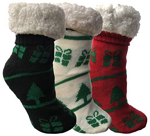 3 Pairs Christmas Printed Socks, Fun Colorful Festive, Crew, Knee High, Or Slipper Sock ()